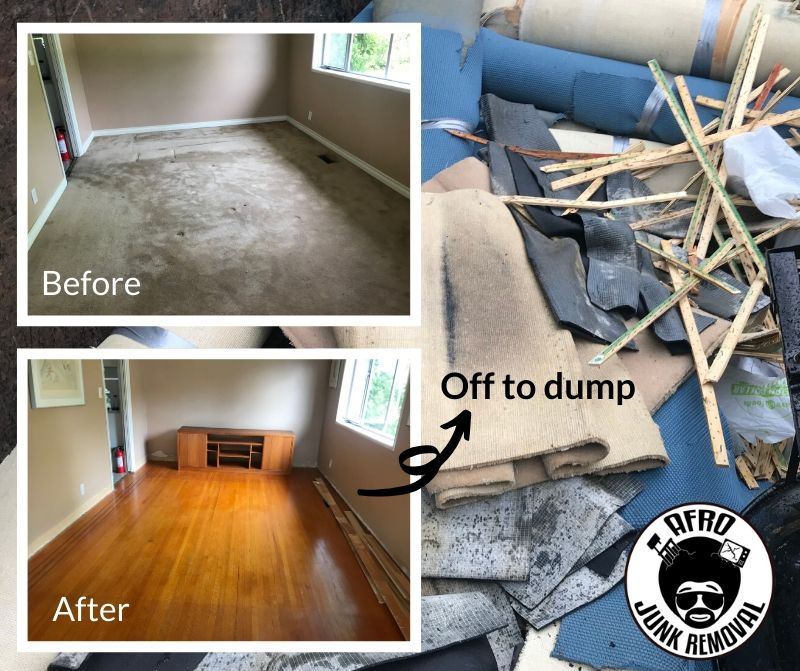 Before, after, off to the dump - Carpet Removal Services by Afro Junk Removal
