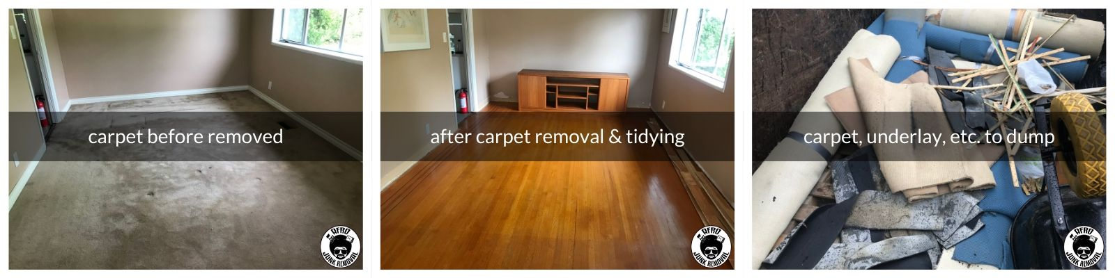 Carpet Removal, Tidy Up and Disposal Job by Afro Junk Removal